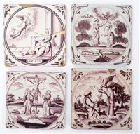 Lot 7-Four 18th century Delft Manganese tiles...