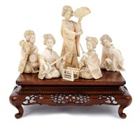 Lot 680 - Good Japanese Meiji period group of carved...