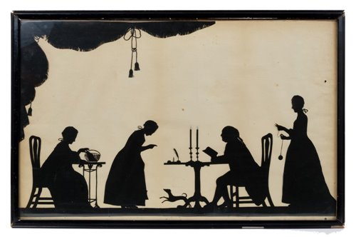 Lot 661-Rare George III papercut silhouette interior...