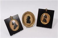 Lot 663-George III painted silhouette portrait...