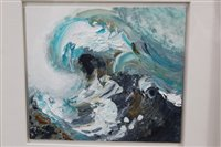 Lot 850-*Maggi Hambling (b.1945) oil on board - Wave,...