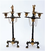 Lot 693 - Good pair of French Empire bronze and ormolu...