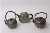 Lot 694 - 19th century Chinese pewter teapot of squat...