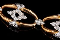 Lot 458 - 18ct gold and diamond bracelet and matching...