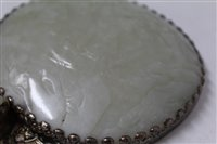 Lot 775-Chinese jade and white metal hand mirror...