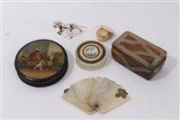 Lot 720 - 19th century papier mache snuff box of...