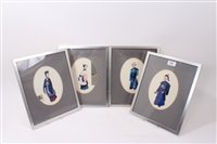 Lot 737 - Set of four 19th century Chinese paintings on...