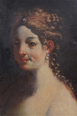 Lot 21-19th century portrait on panel of a Lady