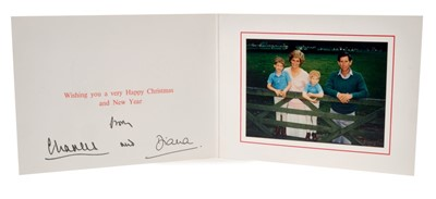 Lot 46-TRH The Prince and Princess of Wales – signed 1988 Christmas card, colour photograph, signed