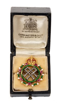 Lot 1-HM Queen Alexandra – fine Royal Presentation gold, diamond, ruby and enamel brooch