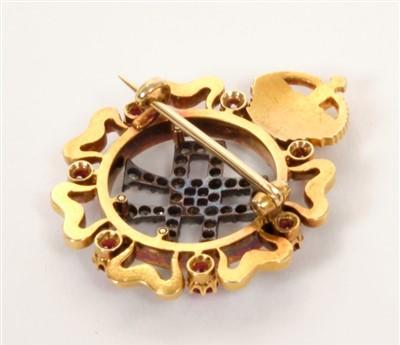 Lot 1-HM Queen Alexandra – fine Royal Presentation gold, diamond, ruby and enamel brooch