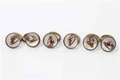 Lot 840-Set of six Essex crystal buttons on an equestrian theme