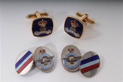 Lot 9-Queen Elizabeth II Queens Flight pair gilt metal, enamel cufflinks; pair 1950s RAF Offr's cufflinks