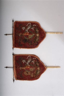 Lot 34-Pair Victorian embroidered beadwork handheld fire banners with Royal Coat of Arms decoration, 39cm