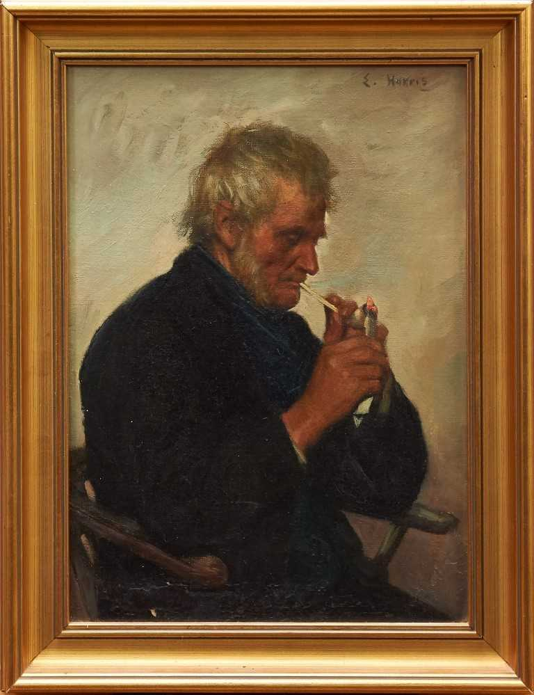 Lot 1141-Edwin Harris (1855-1906) oil on canvas - portrait of fisherman lighting a clay pipe, signed, in gilt frame, 37cm x 26cm