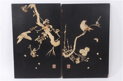 Lot 879 - Pair of Japanese shibyama panels