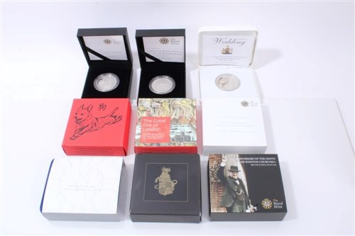 Lot 4-G.B. Royal Mint Silver Proof comm. Crowns – to include Queen's Beasts £5 2018, The Great Fire of London 350th Anniv. £2 2016, Lunar Year of the Dog £5 2018, 50th Anniv. of the Death of Sir Winston...