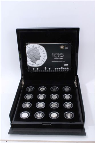 Lot 5-G.B. Royal Mint The U.K. 50p Silver Proof Sixteen Coin Collection – in case of issue with Certificates of Authenticity (1 coin set)