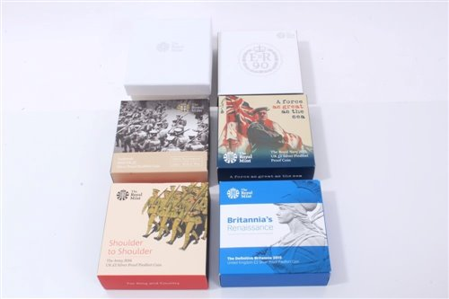 Lot 8-G.B. The Royal Mint mixed Piedfort Silver Proof coins – to include The Christening of Prince George of Cambridge £5 2013, The 90th Birthday of The Queen £5 2015, The Army 'Shoulder to Shoulder' £2...