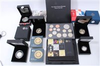 Lot 9-G.B. The Royal Mint mixed Proof coins and sets – to include silver issues – The Queen's Diamond Jubilee £5 2012, Countdown to London £5 2012, The Last 'Round Pound' 2016 (x 2), Shield of The Royal...