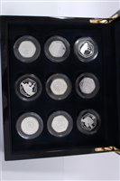 Lot 10-World – The Diamond Wedding Anniv. Her Majesty The Queen His Royal Highness Prince Philip Silver Proof Coin Crown Collection in plush lined case (9 coin set)