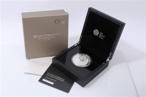 Lot 11-G.B. The Royal Mint 60th Anniv. of The Queen's Coronation Silver Proof Five-Ounce £10 coin 2013 – in case of issue with Certificate of Authenticity (1 coin)