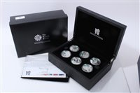 Lot 15-G.B. The Royal Mint Silver Proof Coin Set – containing six Five Pound coins dated 2009, obverse by designer – Ian Rank-Bradley and reverse by designer – Shane Greeves – 'A Celebration of Britain –...