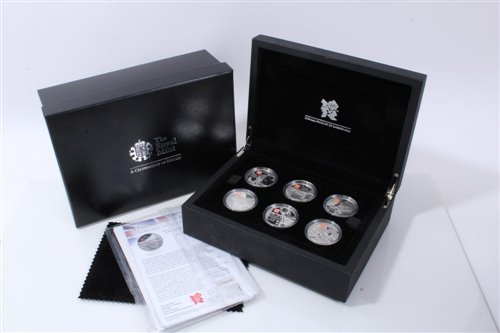Lot 16-G.B. The Royal Mint Silver Proof Coin Set – containing six Five Pound coins dated 2009, obverse by designer – Ian Rank-Bradley and reverse by designer – Shane Greeves – 'A Celebration of Britain –...