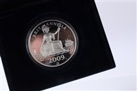 Lot 20-G.B. Westminster Silver Proof Five-Ounce Britannia 'D-Day Landings' 65th Anniv. comm. medallion 2009 - cased with Certificate of Authenticity (1 medallion)