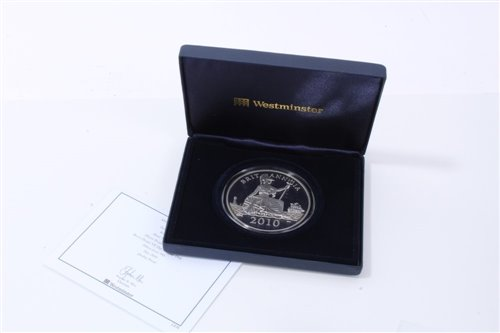 Lot 22-G.B. Westminster Silver Proof Five-Ounce Britannia 'VE Day' 8th May 1940 comm. med. 2010 - cased with Certificate of Authenticity (1 med.)