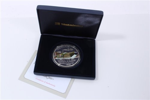 Lot 23-Jersey – Westminster Silver Proof Five-Ounce £10 coin with colour image of Supermarine Spitfire '70th Anniv. of Battle of Britain' 2010 - cased with Certificate of Authenticity (1 coin)