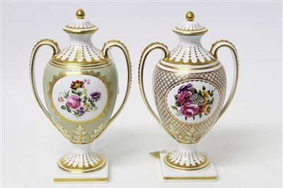 Lot 2041-Two good quality Spode two-handled urn shaped vases with covers