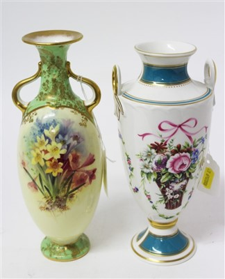Lot 2042-Doulton Burslem two-handled vase with floral decoration, together with a Minton limited edition two handled vase