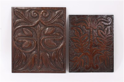 Lot 876 - Two Seventeenth Century carved wood panels