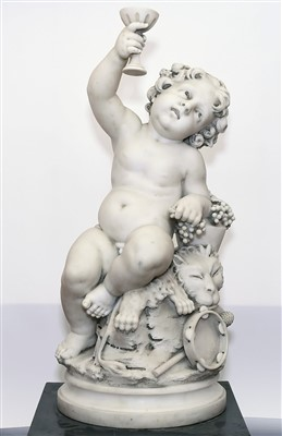 Lot 884 - Aristide Louis Fontana (b.1834) - Good 19th century white marble model of an infant Bacchus