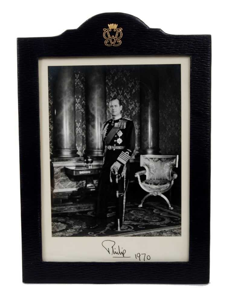 Lot 10-HRH Prince Philip Duke of Edinburgh – fine signed presentation portrait photograph of The Duke