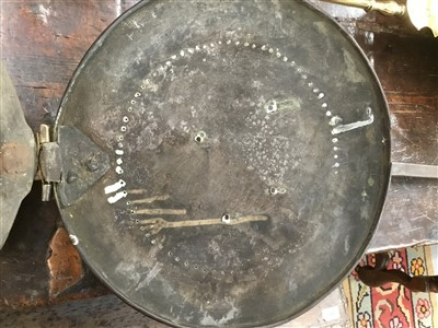Lot 933-Rare II brass and iron warming pan off local interest
