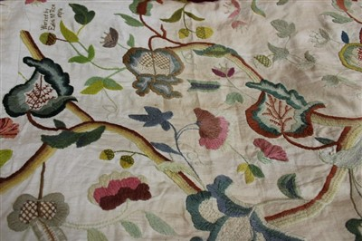 Lot 3061-Two 17th century style crewel work floral embroidered wall hangings.