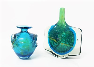 Lot 2000-Mdina art glass blue and yellow fish / axe-head vase, 24.5cm high and a Mdina pulled-ear vase (2)