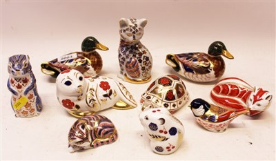 Lot 2003-Eight Royal Crown Derby paperweights – including ducks, fox, seal, kitten, etc, plus two others (10)