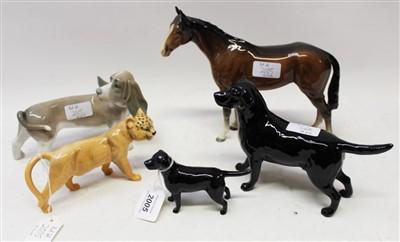 Lot 2005-Two Beswick black Labradors, Beswick horse, wild cat and a Lladro sausage dog (5)