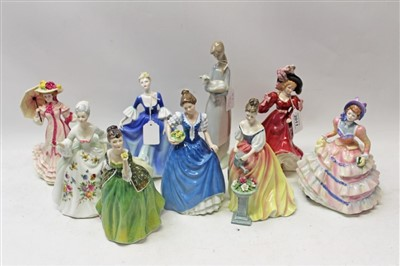 Lot 2011-Seven Royal Doulton figures – Patricia HN3365, Hannah HN3369, Fleur HN2368, Alexandra HN3286, Springtime HN3477, Helen HN3601 and Diana HN2468, plus a Coalport figure and a Lladro figure (9)