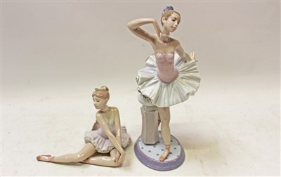 Lot 2018-Two Lladro porcelain figures – Graceful Pose and Stage Presence – both boxed
