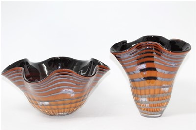 Lot 2019-Two large art glass vases with wavy rims, both signed – Svaja