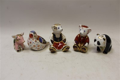 Lot 2033-Royal Crown Derby limited edition paperweight – Baby Panda no. 90 and four other special edition paperweights – Fraser Scottish Teddy, Shona Scottish Teddy, Pickworth Piglet and Chelford Chaffinch,...