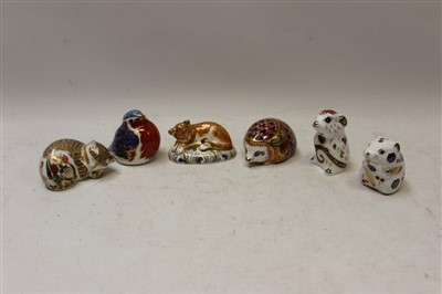 Lot 2034-Six Royal Crown Derby paperweights – Harvest Mouse, Lion Cub, Mouse, Hedgehog, Robin and Cottage Garden Kitten, all boxed