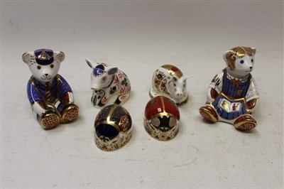 Lot 2035-Six Royal Crown Derby paperweights – Red Ladybird, Blue Ladybird, Teddy Schoolboy, Teddy Schoolgirl, Piglet and one other pig, all boxed