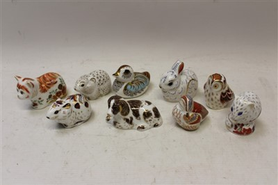 Lot 2036-Nine Royal Crown Derby Collectors Guild paperweights – Scruff, Spice, Bunny, River Bank Vole, Teal Duckling, Bank Vole, Owlet, Ducking and Derby Dormouse, all boxed