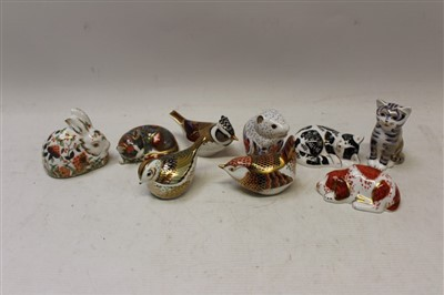 Lot 2037-Nine unboxed Royal Crown Derby paperweights  - Meadow Rabbit, Puppy, Misty, Firecrest, Crested Tit, Poppy Mouse, Catnip Kitten, Derby Wren and Grey Kitten