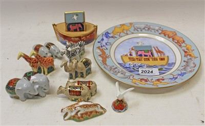 Lot 2024-Royal Crown Derby Noah's Ark set – comprising Noah's Ark, elephants, giraffes, camels, hippos, cheetahs, oxen, zebras and a dove, plus a limited edition Noah's Ark plate no. 408, with certificate,...